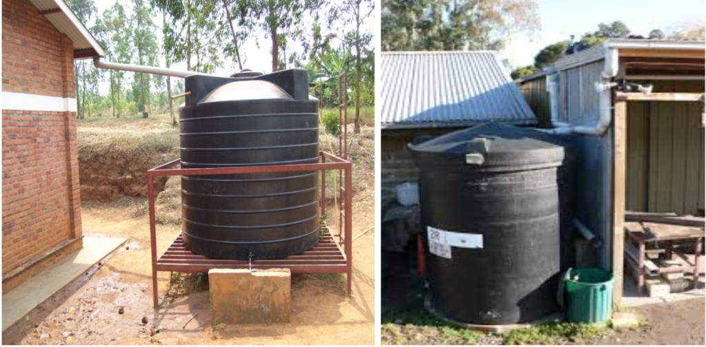 Rain water from roof top being collected in containers/drums.